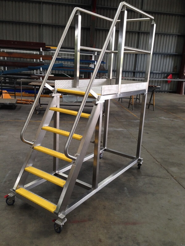 Mobile Platform with Non Slip Stairs, Handrails and Lockable Swivel Castors